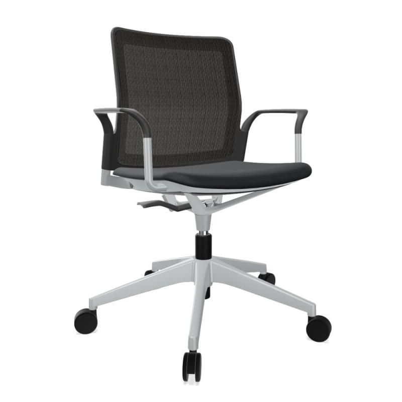 Urban Plus 30 Chair, Black Mesh Back & Seat / Silver Swivel Base With Castors
