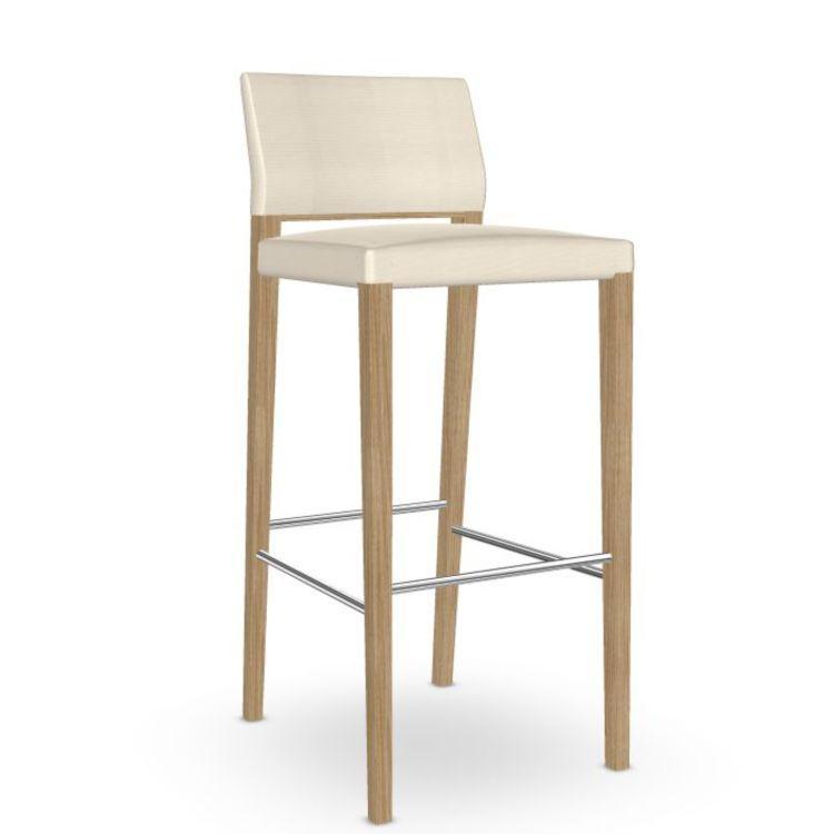 Valeria Barstool, White Upholstery / Oak Frame