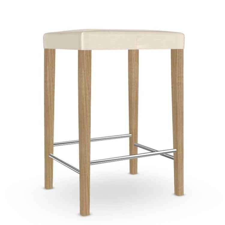Valeria Counter Stool, White Upholstery / Oak Frame