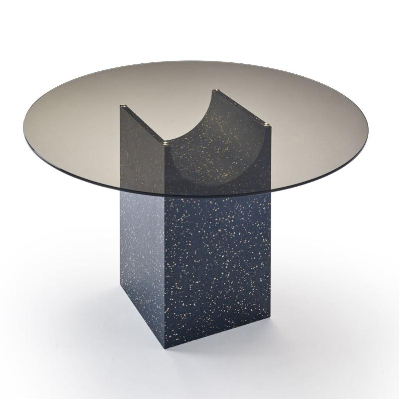 Vestige Table, Ø120cm, Bronze Glass Top / Black MDF