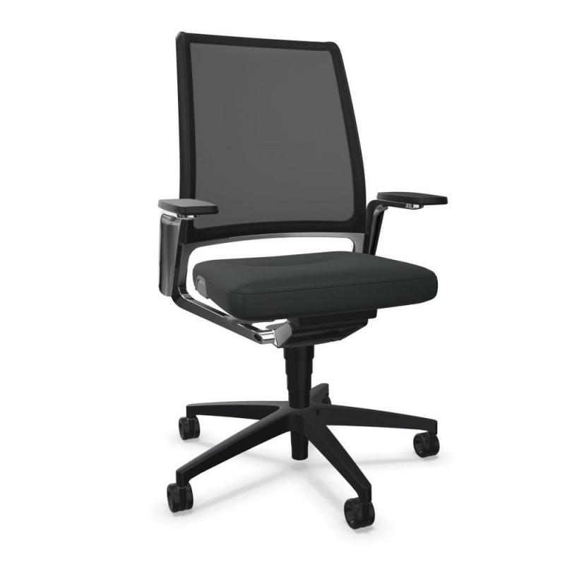 VINTAGEis5 17V7 Office Chair, Mesh Backrest / Black Seat / Black Aluminium Base