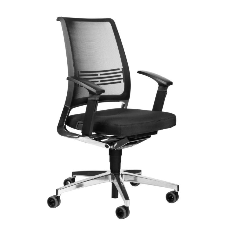 VINTAGEis5 17V7 Office Chair, Mesh Backrest / Black Seat / Polished Aluminium Base