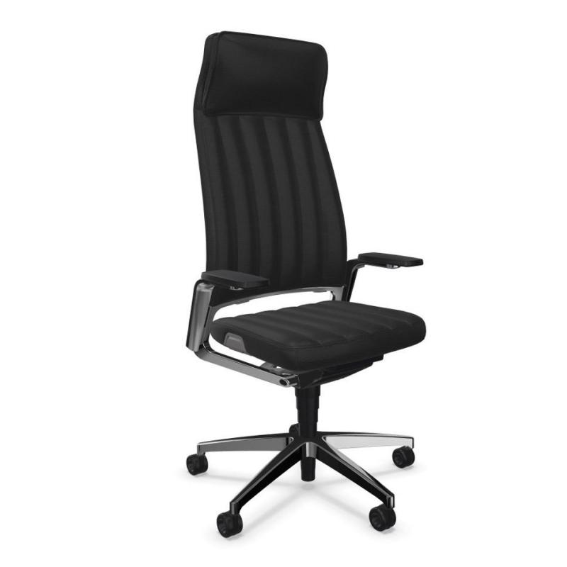 VINTAGEis5 32V4 Office Chair, Black Leather Backrest and Seat / Polished Aluminium Base