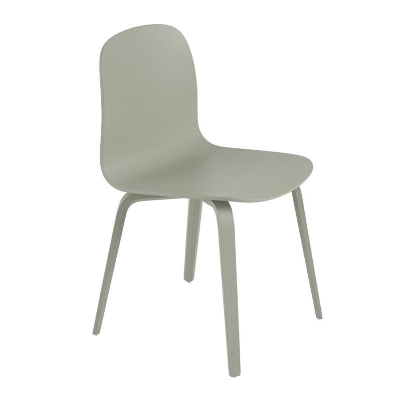 Visu Chair, Wood Base, Dusty Green