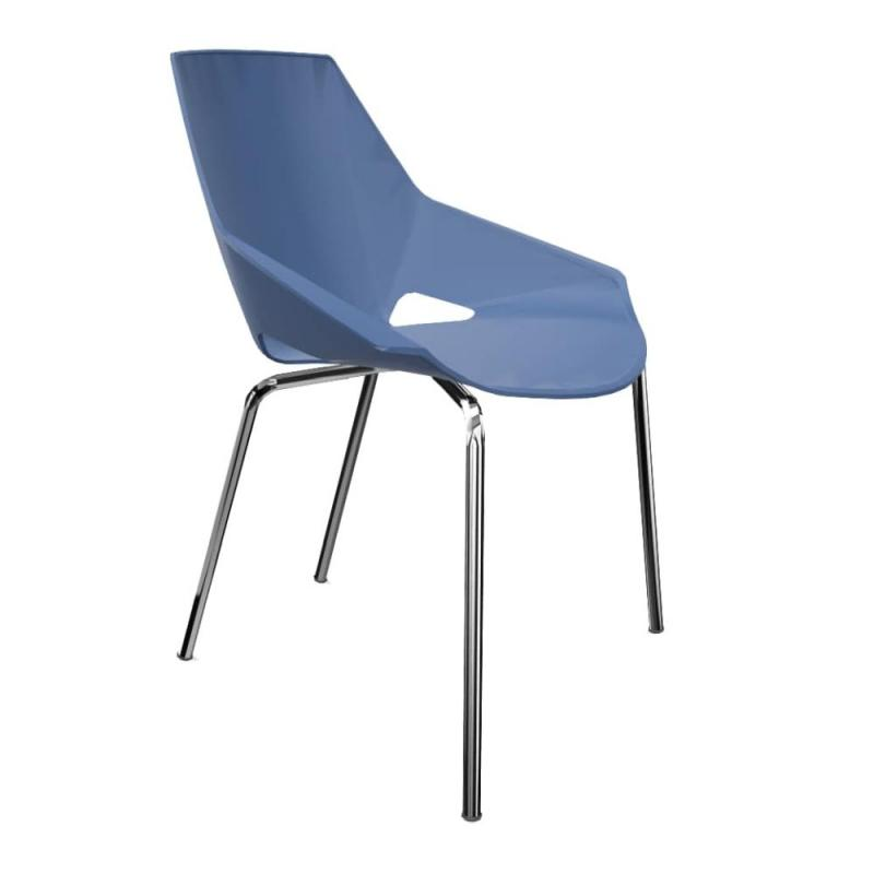 Viva Chair, Dark Blue Shell / Chromed Frame