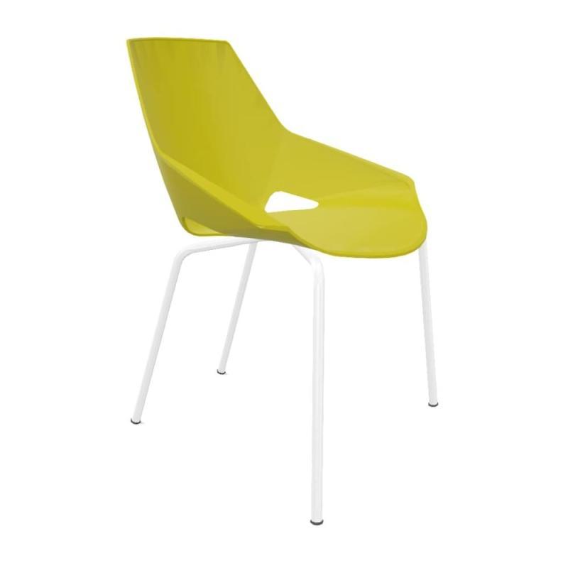 Viva Chair, Green Shell / White Frame