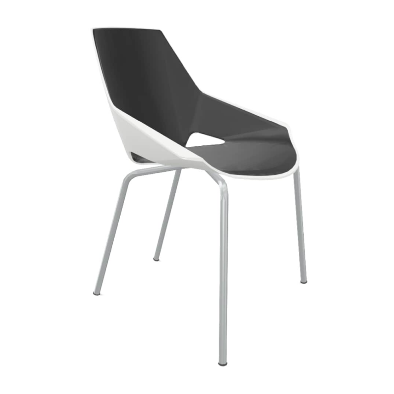Viva Chair, White Shell With Black Seat Pad / Silver Frame