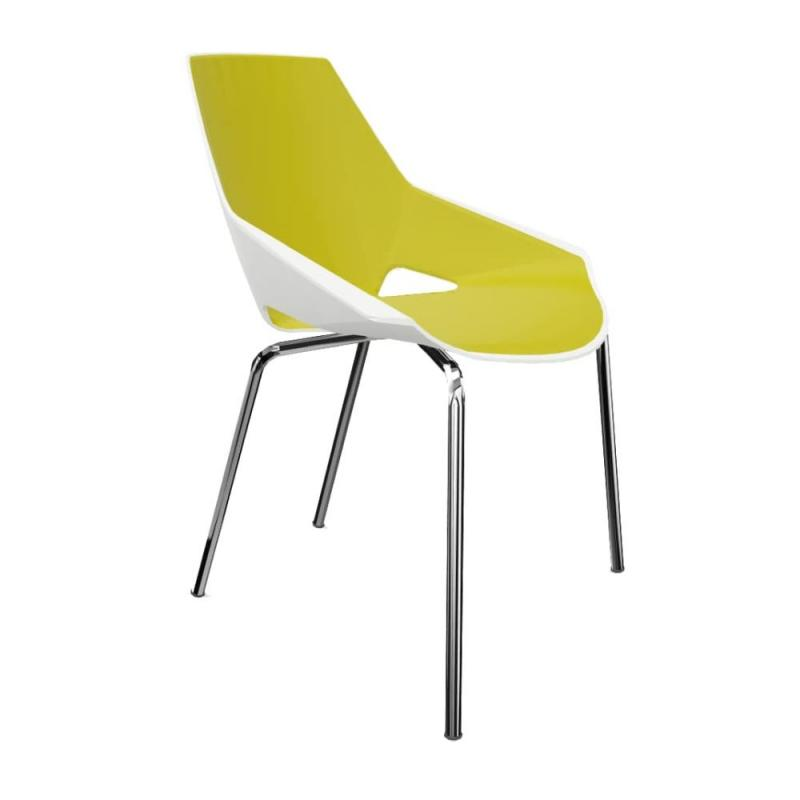 Viva Chair, White Shell With Green Seat Pad / Chromed Frame