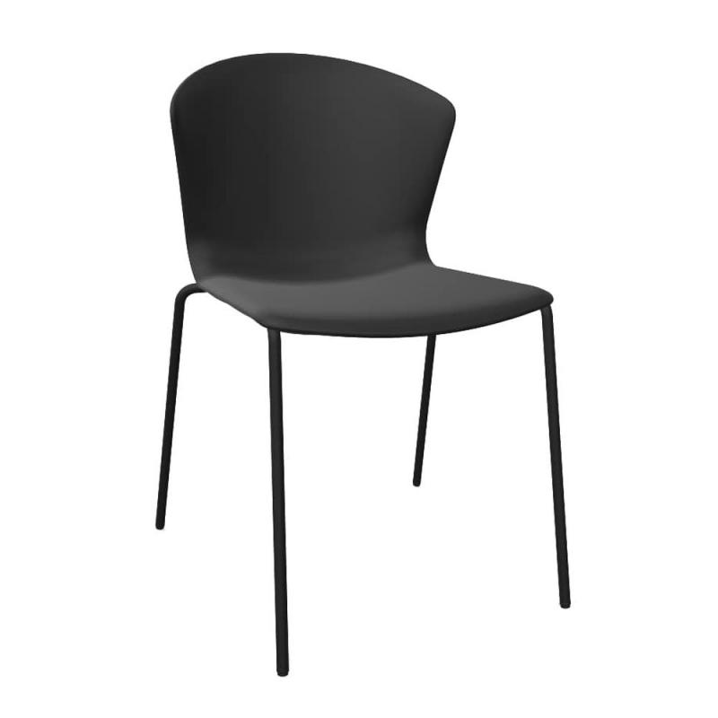 Whass Chair, Tube Base, Black Seat / Black Base