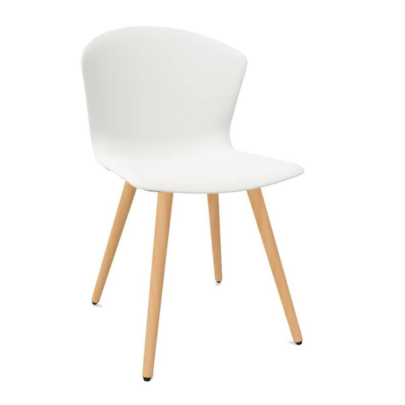 Whass Chair, Wood Base, White Seat / Beech Legs