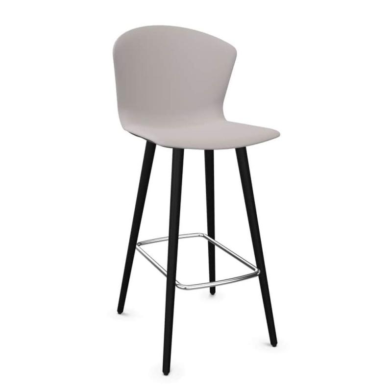 Whass Stool, Wood Base, Grey Seat / Black Wooden Legs