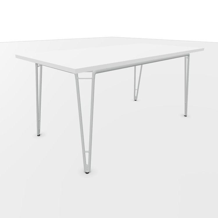 Wire Desk, 160x80cm, White Laminate Top / Metallic Aluminium Frame