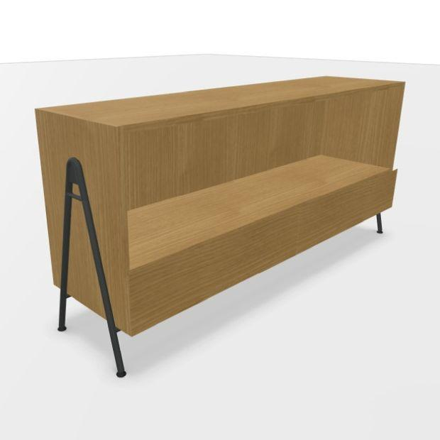 Wire Open Fixed Sideboard With 2 Filing Drawers, Natural Oak / Anthracite
