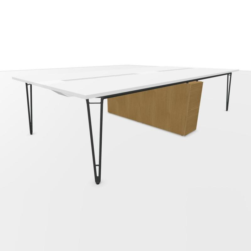 Wire Quadruple Bench, With Shared Pedestals, 320x150cm, White Laminate Top / Anthracite Frame