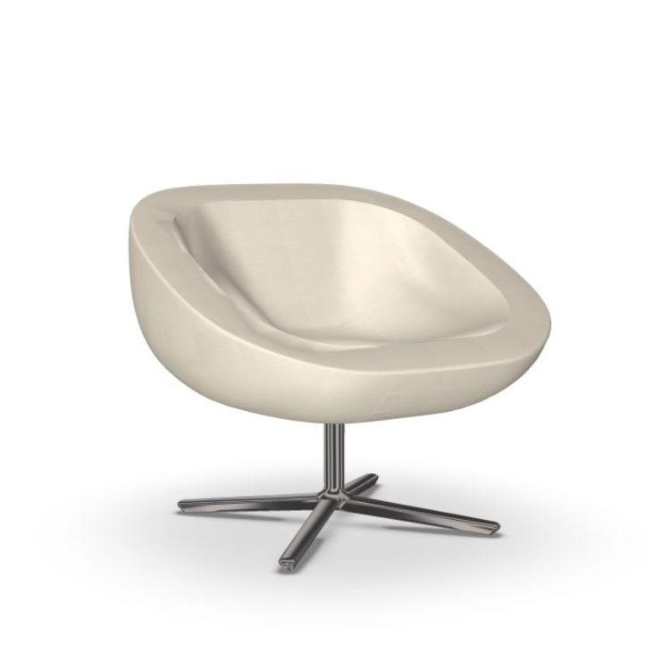 Wok Lounge Chair, White Upholstery / Black Swivel Base