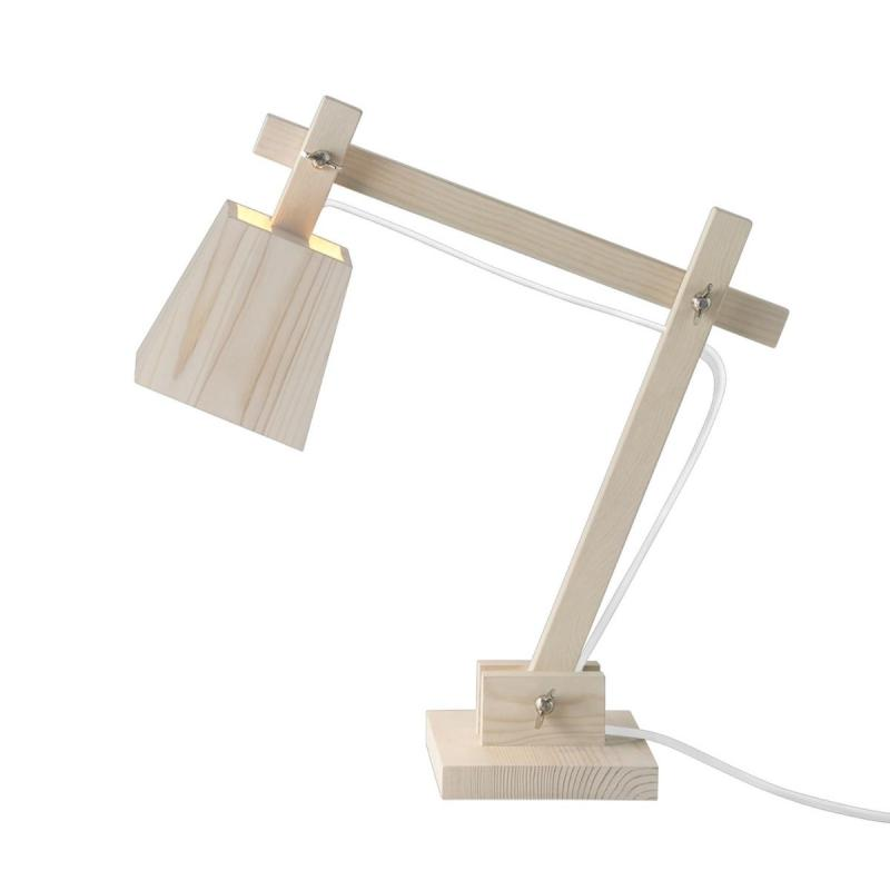 Wood Table Lamp, Pine Wood With White Cord