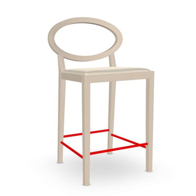 Zarina Counter Stool, White Upholstery / Beech Frame